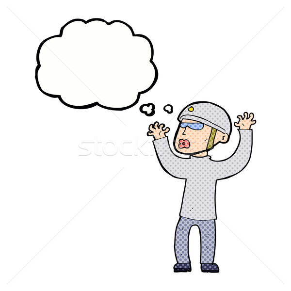 cartoon security man panicking with thought bubble Stock photo © lineartestpilot