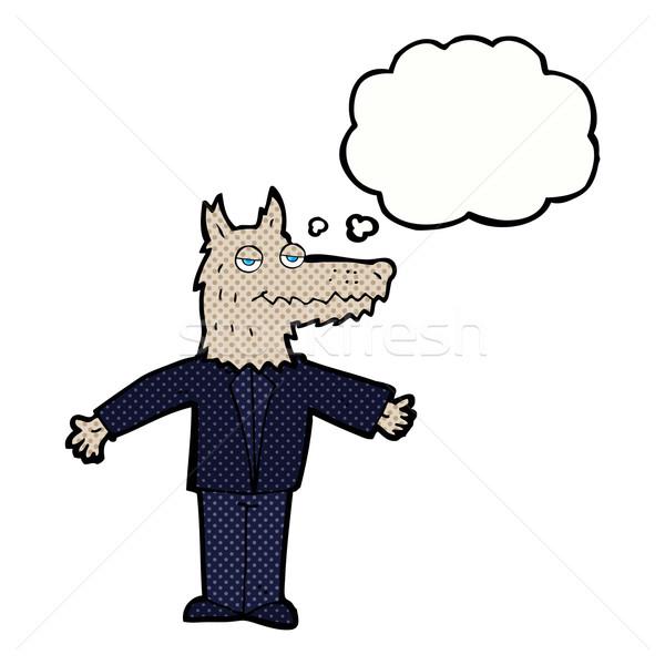 Desenho animado lobo balão de pensamento mão projeto arte Foto stock © lineartestpilot