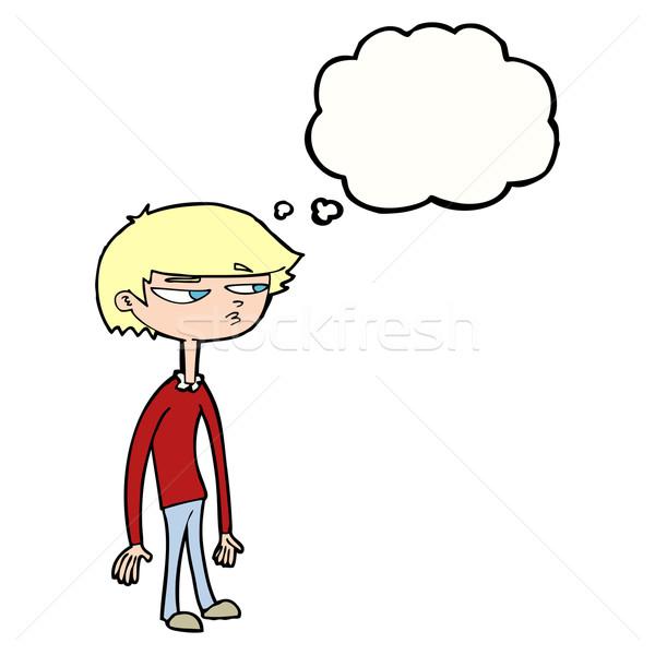 Karikatür şüpheli erkek düşünce balonu el adam Stok fotoğraf © lineartestpilot