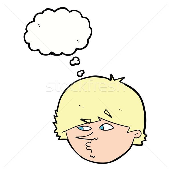 Cartoon suspectes homme bulle de pensée main design Photo stock © lineartestpilot