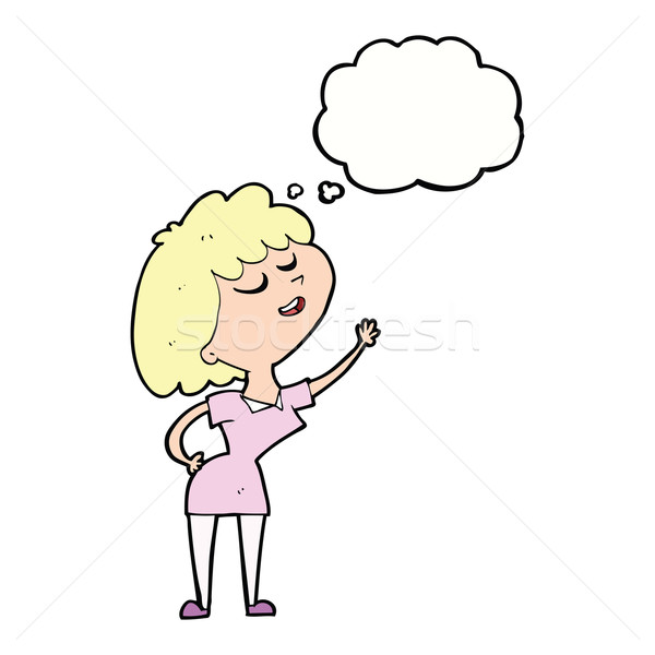 cartoon happy woman about to speak with thought bubble Stock photo © lineartestpilot