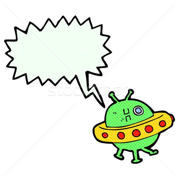 Rajz UFO szövegbuborék kéz terv művészet Stock fotó © lineartestpilot