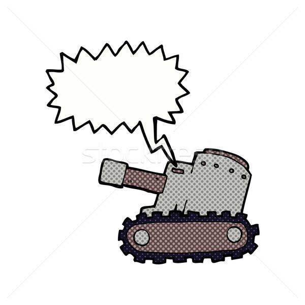 Karikatür ordu tank konuşma balonu el dizayn Stok fotoğraf © lineartestpilot