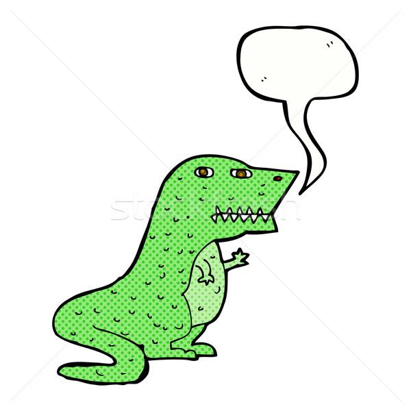 cartoon dinosaur with speech bubble Stock photo © lineartestpilot