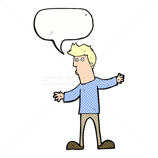 cartoon curious man with speech bubble Stock photo © lineartestpilot