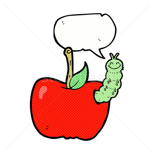 Desenho animado maçã bicho balão de fala mão projeto Foto stock © lineartestpilot