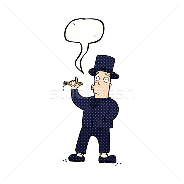Karikatür sigara içme beyefendi konuşma balonu el adam Stok fotoğraf © lineartestpilot