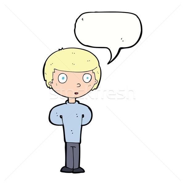 Stock photo: cartoon curious boy with speech bubble