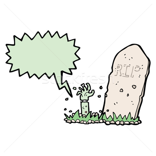 Cartoon zombi graves bocadillo mano Foto stock © lineartestpilot