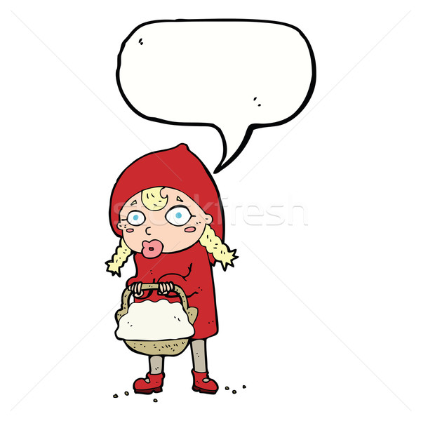 little red riding hood cartoon with speech bubble Stock photo © lineartestpilot