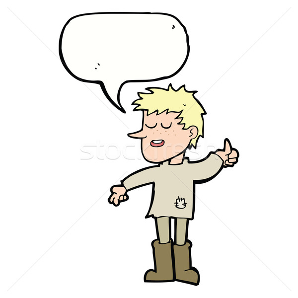 cartoon poor boy with positive attitude with speech bubble Stock photo © lineartestpilot