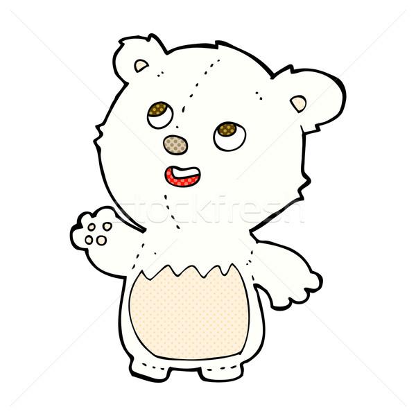 comic cartoon happy little teddy polar bear Stock photo © lineartestpilot