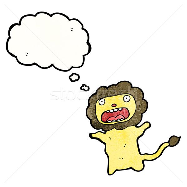 Cartoon lew tekstury strony szczęśliwy rysunek Zdjęcia stock © lineartestpilot