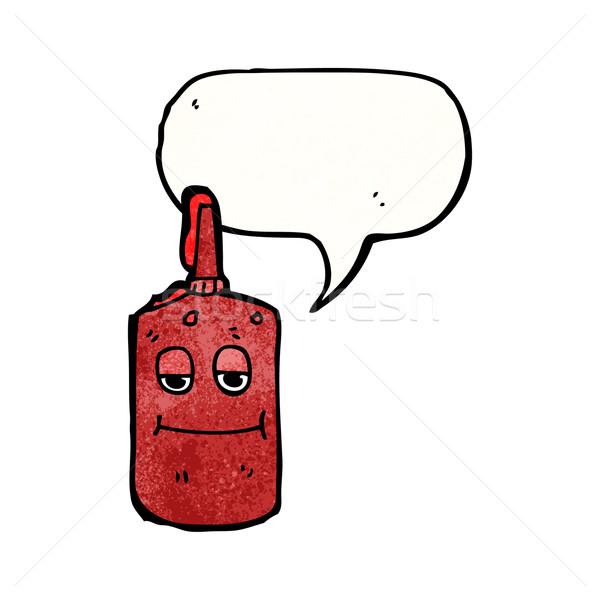 Ketchup Gesicht Karikatur Flasche sprechen Retro Stock foto © lineartestpilot