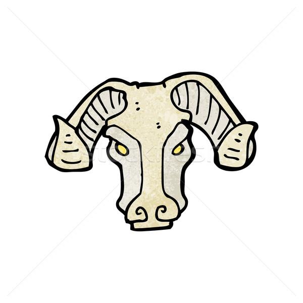 Cartoon carnero cabeza signo retro dibujo Foto stock © lineartestpilot