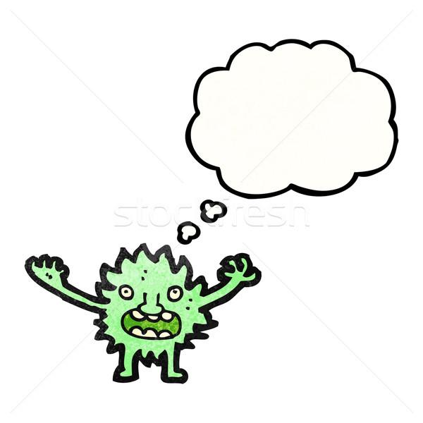 Desenho animado peludo verde monstro arte retro Foto stock © lineartestpilot