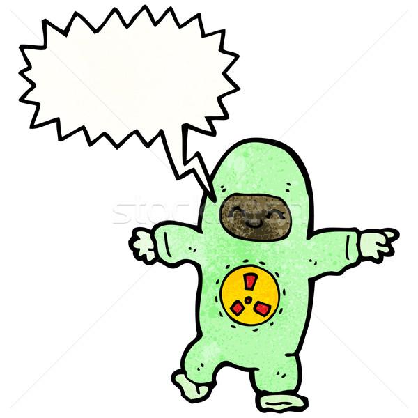 Desenho animado homem radiação terno retro desenho Foto stock © lineartestpilot