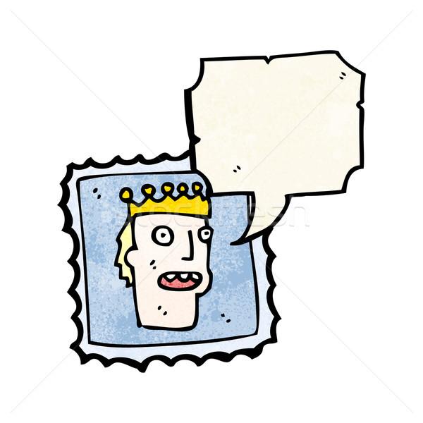говорить почтовая марка Cartoon ретро штампа рисунок Сток-фото © lineartestpilot