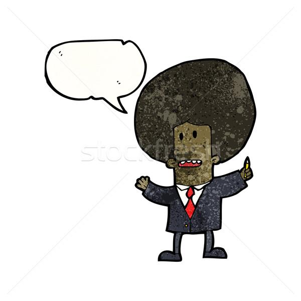 Cartoon zakenman groot afro haren retro Stockfoto © lineartestpilot
