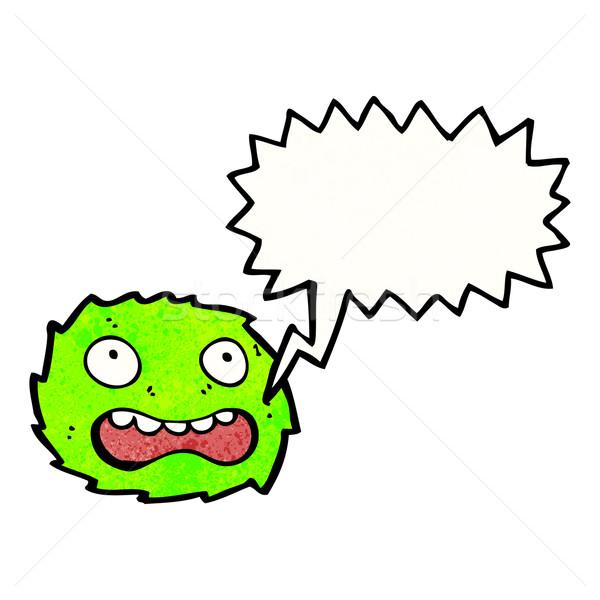 Desenho animado peludo verde monstro retro desenho Foto stock © lineartestpilot
