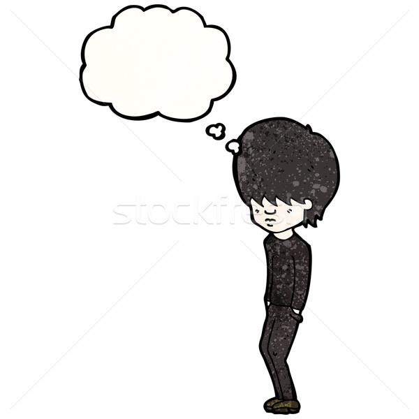 Karikatür goth genç Retro genç balon Stok fotoğraf © lineartestpilot