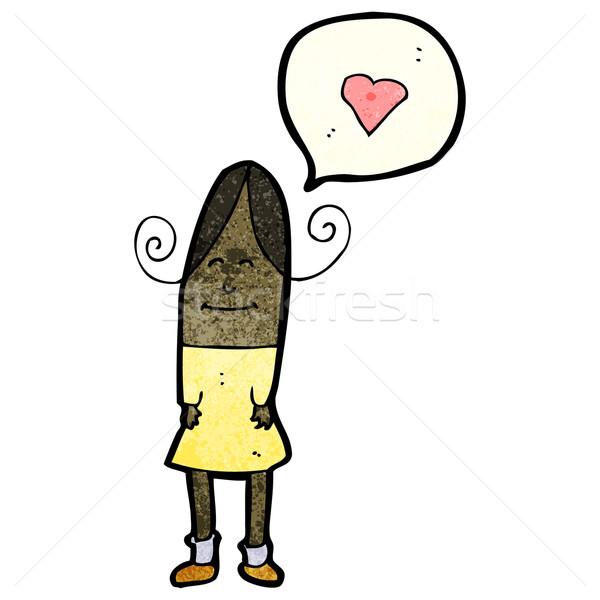Cartoon donna amore cuore arte retro Foto d'archivio © lineartestpilot