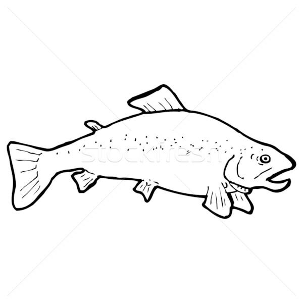 Cartoon черно белые рыбы рисунок искусства ретро Сток-фото © lineartestpilot