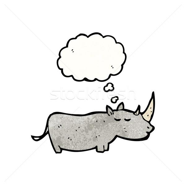 Nosorożec cartoon retro tekstury odizolowany biały Zdjęcia stock © lineartestpilot