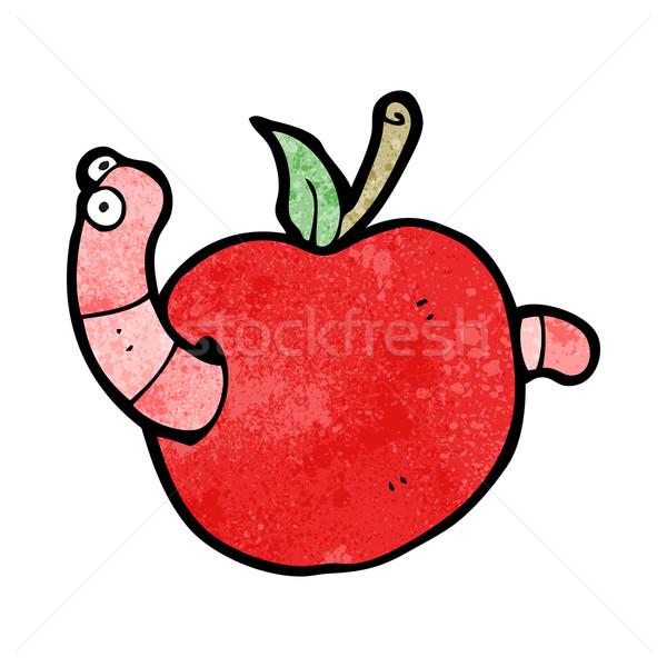 Foto stock: Verme · maçã · desenho · animado · comida · mão · projeto