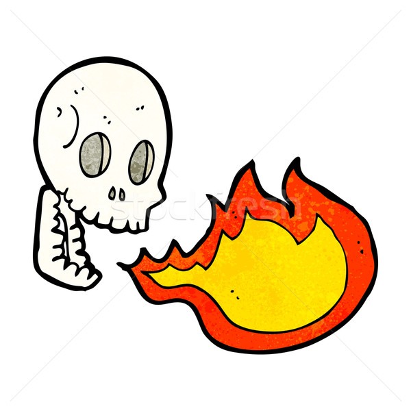 Cartoon огня дыхание череп стороны дизайна Сток-фото © lineartestpilot
