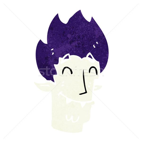 Desenho animado feliz vampiro cabeça mão projeto Foto stock © lineartestpilot