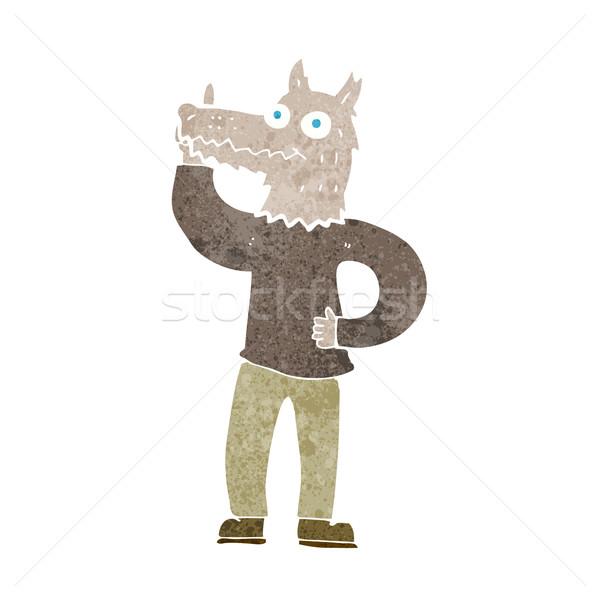 Karikatür kurt adam fikir el dizayn kafa Stok fotoğraf © lineartestpilot