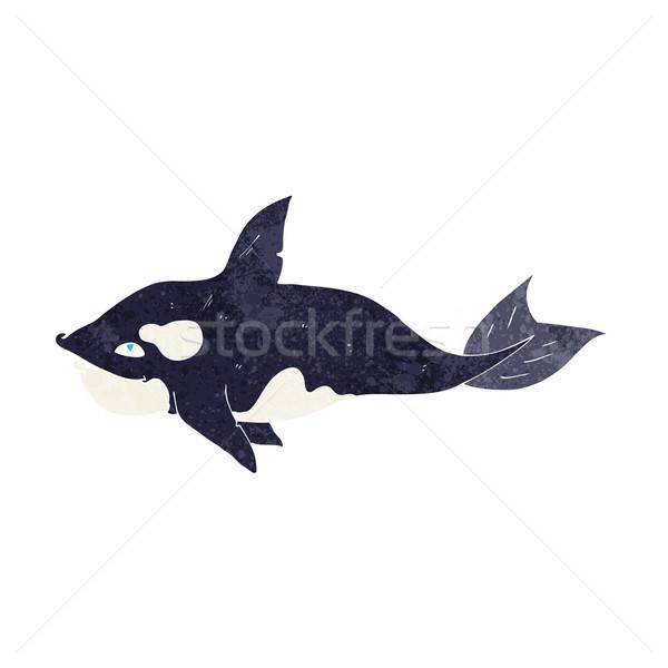 Karikatür katil balina el dizayn çılgın Stok fotoğraf © lineartestpilot