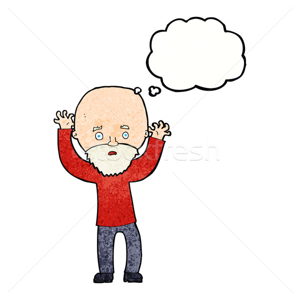 cartoon bearded man panicking with thought bubble Stock photo © lineartestpilot