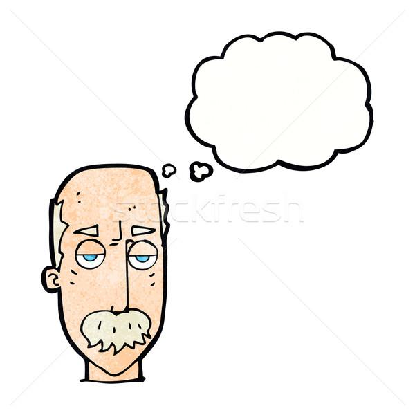 Rajz unatkozik idős férfi gondolatbuborék kéz férfi Stock fotó © lineartestpilot