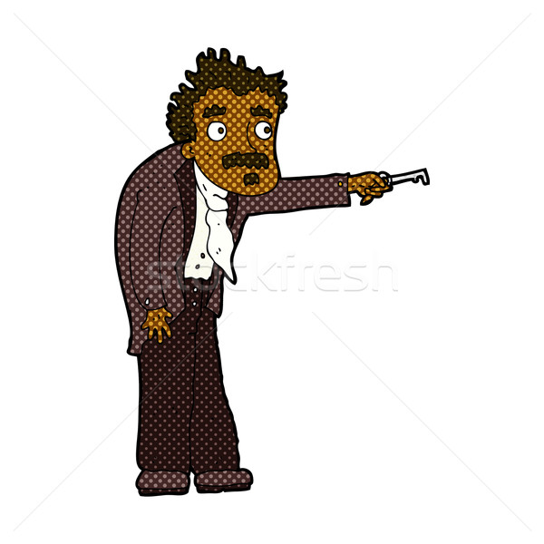 comic cartoon man trembling with key unlocking Stock photo © lineartestpilot