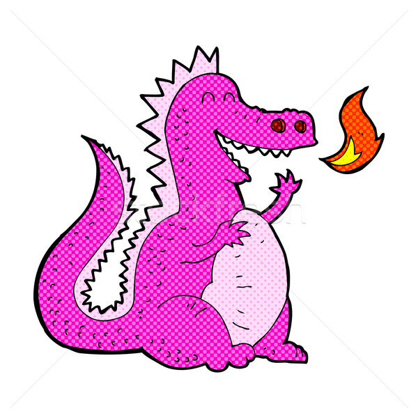 comic cartoon fire breathing dragon Stock photo © lineartestpilot