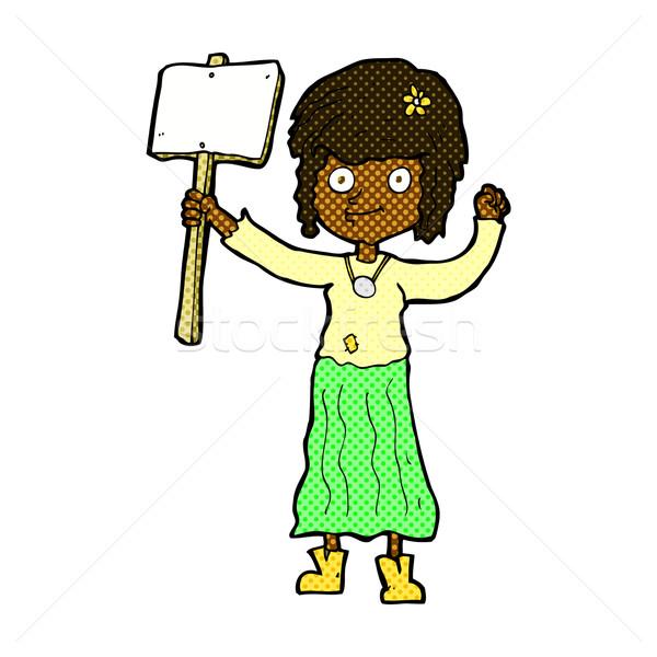 Cômico desenho animado hippie menina protesto assinar Foto stock © lineartestpilot