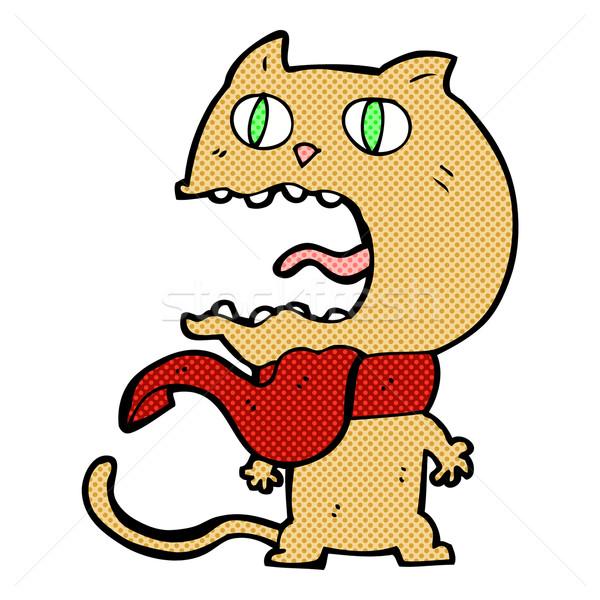 Komische cartoon bange kat retro Stockfoto © lineartestpilot