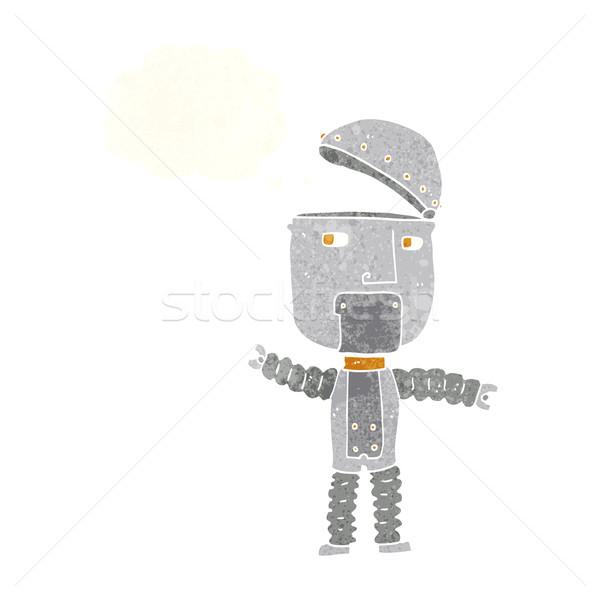 Cartoon robot bolla di pensiero mano design arte Foto d'archivio © lineartestpilot