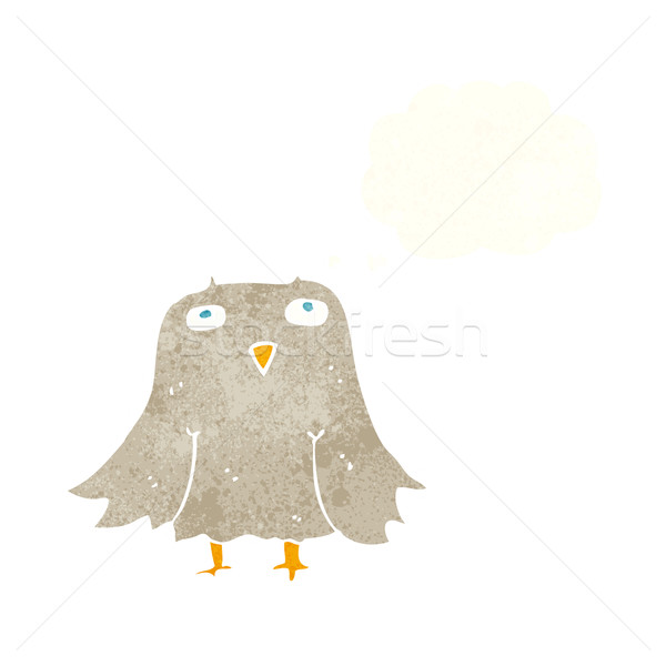 Desenho animado coruja balão de pensamento mão projeto arte Foto stock © lineartestpilot