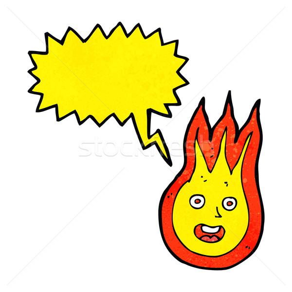 Desenho animado amigável fireball balão de fala mão projeto Foto stock © lineartestpilot