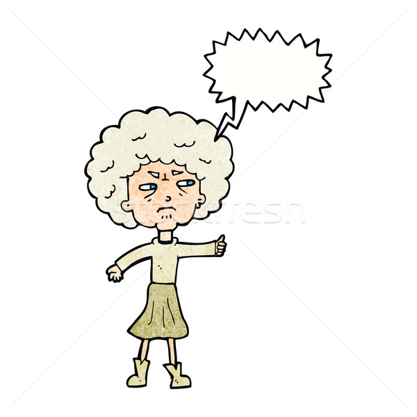 Cartoon molesto vieja bocadillo mujer mano Foto stock © lineartestpilot