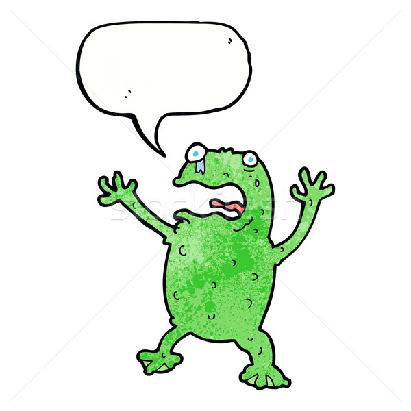 cartoon frightened frog with speech bubble Stock photo © lineartestpilot