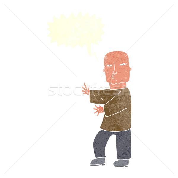 Cartoon taai man tekstballon hand ontwerp Stockfoto © lineartestpilot