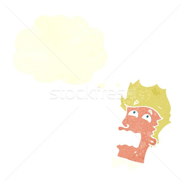 cartoon frightened man with speech bubble Stock photo © lineartestpilot