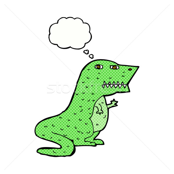 Stock photo: cartoon dinosaur with thought bubble