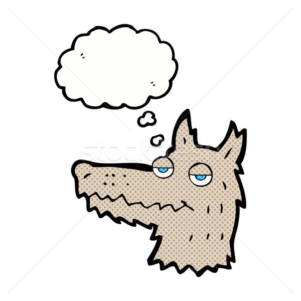 Desenho animado lobo cabeça balão de pensamento mão projeto Foto stock © lineartestpilot