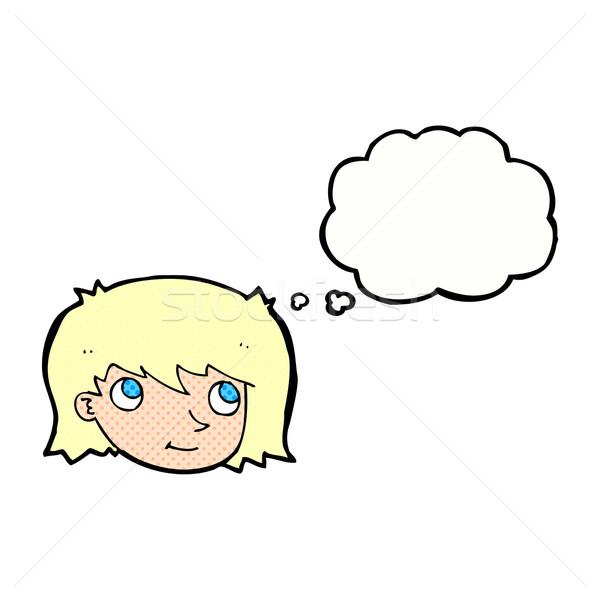 Cartoon kobiet twarz bubble myśl kobieta strony Zdjęcia stock © lineartestpilot