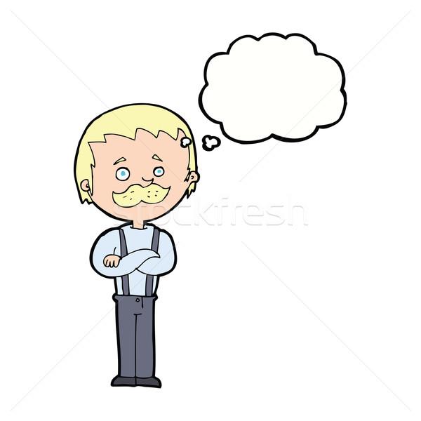 Cartoon homme moustache bulle de pensée main design Photo stock © lineartestpilot